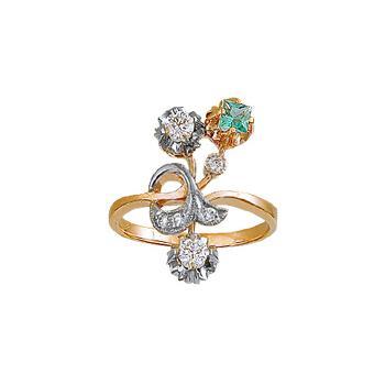 Купить Золотое кольцо 10546RS, Кольцо с бриллиантами и изумрудом. 4 бриллианта 0, 08 карат; 2 бриллианта 0, 36 карат; 1 изумруд 0, 16 карат;. Материал: красное золото 585 пр. Средний вес: 5.84 гр.., Ювелирное изделие