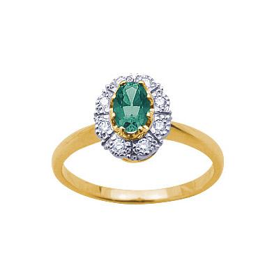 Купить Золотое кольцо 14547RS, Кольцо с бриллиантами и изумрудом. 1 изумруд 0, 2 карат; 8 бриллиантов 0, 07 карат. Материал: желтое золото 750 пр. Средний вес: 3.8 гр.., Ювелирное изделие