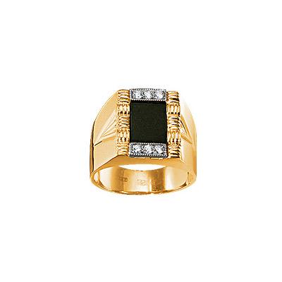 Купить Золотое кольцо 15259RS, Печатка с бриллиантами и кварцем. 6 бриллиантов 0, 084 карат; 1 кварц; 0, 740 грамм;. Материал: желтое золото 750 пр. Средний вес: 15.32 гр.., Ювелирное изделие