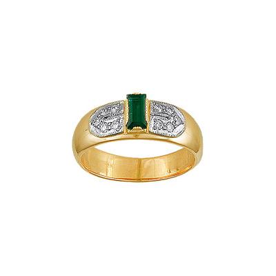 Купить Золотое кольцо 15632RS, Кольцо с бриллиантами и изумрудом. 10 бриллиантов 0, 25 карат; 1 изумруд 0, 20 карат;. Материал: желтое золото 750 пр. Средний вес: 5.6 гр.., Ювелирное изделие