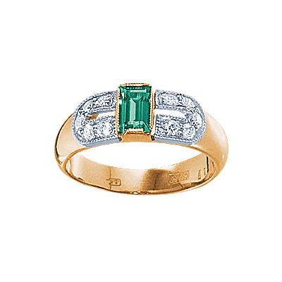 Купить Золотое кольцо 17537RS, Кольцо с бриллиантами и изумрудом. 10 бриллиантов 0, 25 карат; 1 изумруд 0, 20 карат;. Материал: красное золото 585 пр. Средний вес: 5.6 гр.., Ювелирное изделие