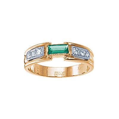 Купить Золотое кольцо 17540RS, Кольцо с бриллиантами и изумрудом. 1 изумруд 0, 24 карат; 6 бриллиантов 0, 08 карат. Материал: красное золото 585 пр. Средний вес: 3.9 гр.., Ювелирное изделие