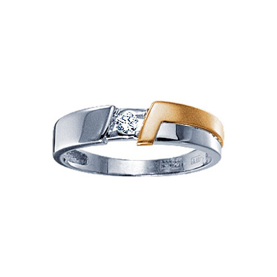 Золотое кольцо  71068RS - Ювелирное изделиеКольцо с бриллиантами. 1 бриллиант 0,08 карат. Материал: белое золото 585 пр. Средний вес: 3.4 гр..<br>