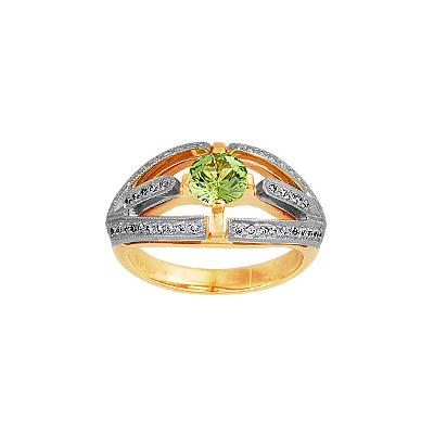 Купить Золотое кольцо 90244RS, Кольцо с бриллиантами и хризолитом. 50 бриллиантов 0, 50 карат; 1 хризолит 0, 17 г. Материал: красное золото 585 пр. Средний вес: 6.3 гр.., Ювелирное изделие