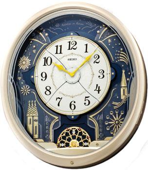 Настенные кварцевые часы. Вращающийся маятник. Украшены кристаллами Swarovski. 6 мелодий. Автоматическое выключение мелодии, регулировка громкости. Материал - пластик. Цвет бежевый. Размер 424х468х109 мм. - Настольные часы  Seiko Clock QXM239ST. Коллекция