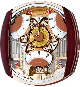 Настенные кварцевые часы. Вращающийся маятник. Украшены кристаллами Swarovski. 12 мелодий. Автоматическое выключение мелодии, регулировка громкости. Материал - пластик. Цвет коричневый. Размер 468х424х109 мм. - Настольные часы  Seiko Clock QXM250BT. Колле