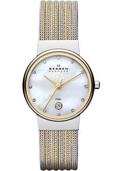 Швейцарские наручные  женские часы Skagen 355SSGS. Коллекция Mesh