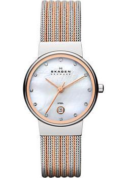 Швейцарские наручные  женские часы Skagen 355SSRS. Коллекция Mesh
