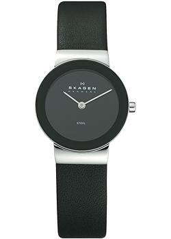 Швейцарские наручные  женские часы Skagen 358SSLB. Коллекция Leather