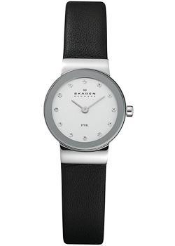 Швейцарские наручные  женские часы Skagen 358XSSLBC. Коллекция Leather