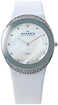 Швейцарские наручные  женские часы Skagen 452LSLW. Коллекция Leather