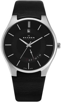 Швейцарские наручные  мужские часы Skagen 989XLSLB. Коллекция Leather от Bestwatch.ru