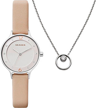 Швейцарские наручные  женские часы Skagen SKW1100. Коллекция Leather