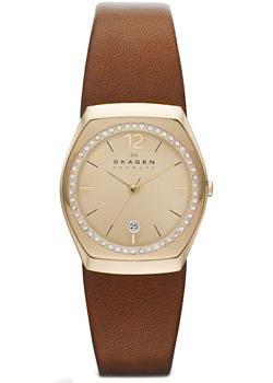 Швейцарские наручные  женские часы Skagen SKW2258. Коллекция Leather