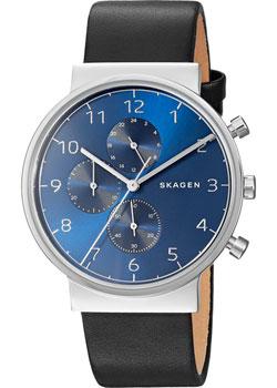 Швейцарские наручные  мужские часы Skagen SKW6417. Коллекция Leather.