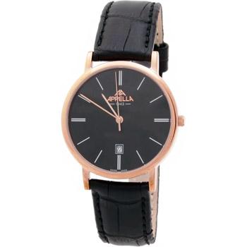 Позолоченные часы с кожаным ремешком. Нержавеющая сталь + позолота. Минеральное стекло