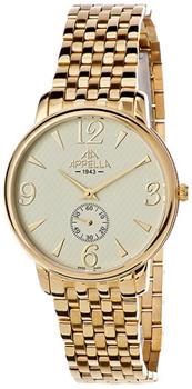 Швейцарские наручные  мужские часы Appella 4307-1002. Коллекция Classic - AppellaКорпус и браслет изготовлен из нержавеющей стали. Диаметр 38 мм.<br>
