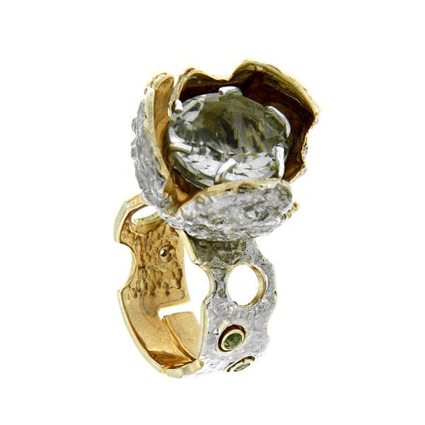 Купить Серебряное кольцо 1074a, Кольцо Beavers из серебра 925 пр. Покрытие: Родий. Вставка: Аметист. Вес: 14, 25 гр.., Ювелирное изделие
