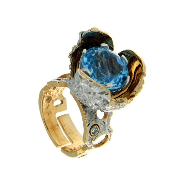 Ювелирное изделие Серебряное кольцо 1074t.  Кольцо Beavers из серебра 925 пр...
