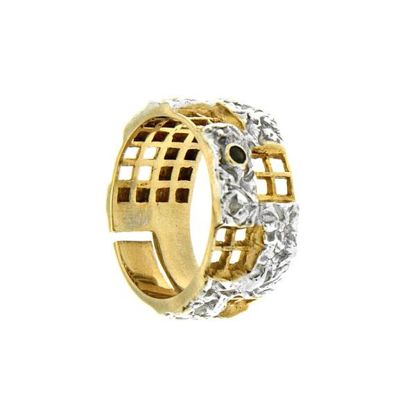 Купить Серебряное кольцо 1098rt, Кольцо Beavers из серебра 925 пр. Покрытие: Родий. Вставка: Раухтопаз. Вес: 7, 3 гр.., Ювелирное изделие