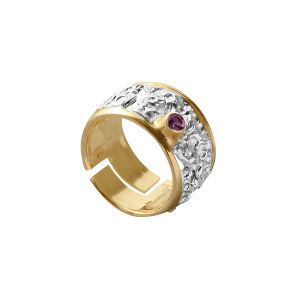 Купить Серебряное кольцо 1101a, Кольцо Beavers из серебра 925 пр. Покрытие: Родий. Вставка: Аметист. Вес: 7, 15 гр.., Ювелирное изделие