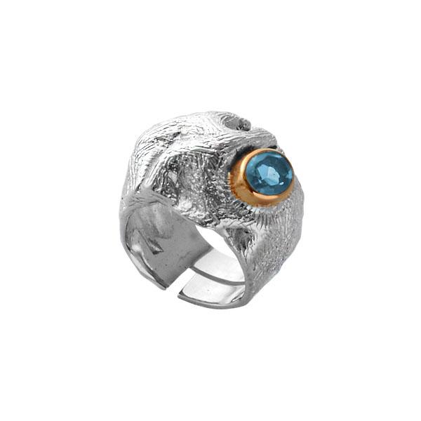 Купить Серебряное кольцо 1104t, Кольцо Beavers из серебра 925 пр. Покрытие: Родий. Вставка: Топаз. Вес: 13, 14 гр.., Ювелирное изделие
