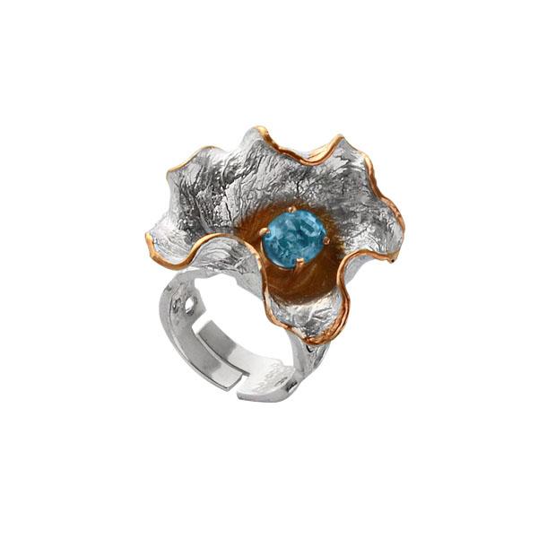 Купить Серебряное кольцо 1108t, Кольцо Beavers из серебра 925 пр. Покрытие: Родий. Вставка: Топаз. Вес: 13, 41 гр.., Ювелирное изделие
