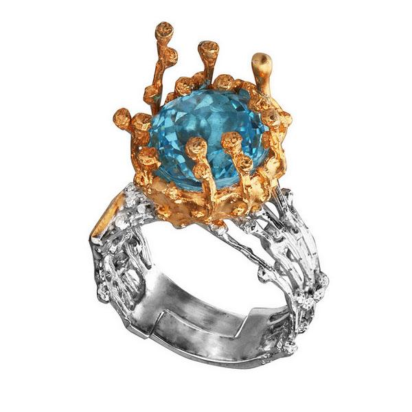 Купить Серебряное кольцо 1132t, Кольцо Beavers из серебра 925 пр. Покрытие: Родий. Вставка: Топаз. Вес: 13, 4 гр.., Ювелирное изделие