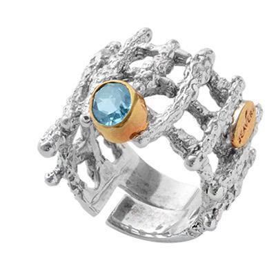 Купить Серебряное кольцо 1140t, Кольцо Beavers, Серебро с родиевым покрытием. Примерный вес изделия - 8, 45 гр. Вставка: Топаз., Ювелирное изделие