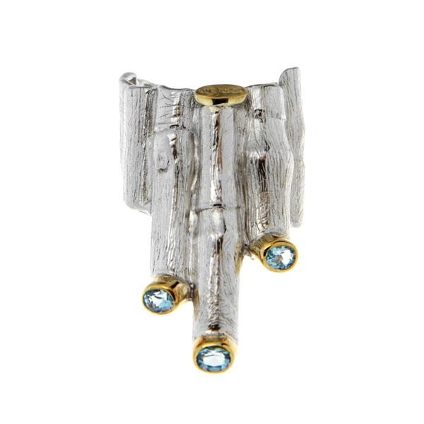 Купить Серебряное кольцо 1146t, Кольцо Beavers из серебра 925 пр. Покрытие: Родий. Вставка: Топаз. Вес: 13, 6 гр.., Ювелирное изделие