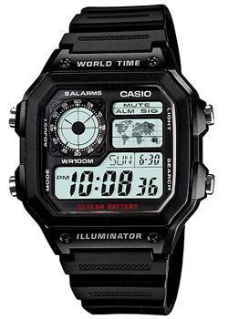 Японские наручные  мужские часы Casio AE-1200WH-1A. Коллекция Classic&digital timer