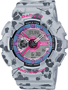 Японские наручные  женские часы Casio BA-110FL-8A. Коллекция Baby-G