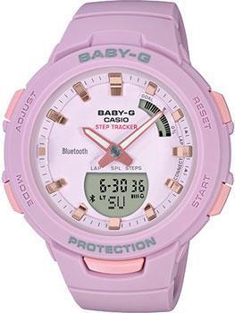 Японские наручные  женские часы Casio BSA-B100-4A2ER. Коллекция Baby-G