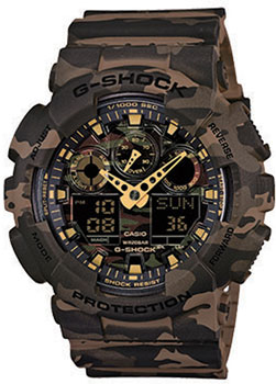 Японские наручные  мужские часы Casio GA-100CM-5A. Коллекция G-Shock