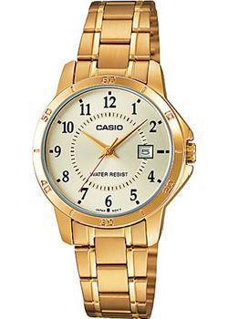 Японские наручные  женские часы Casio LTP-V004G-9B. Коллекция Analog