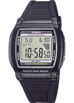 Японские наручные  мужские часы Casio W-201-1A. Коллекция Digital