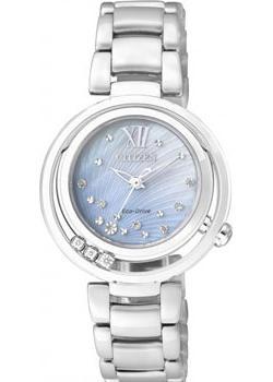 Японские наручные  женские часы Citizen EM0321-56D. Коллекция Eco-Drive