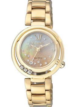 Японские наручные  женские часы Citizen EM0325-55P. Коллекция Eco-Drive