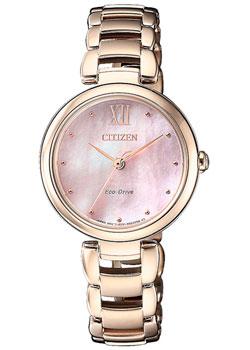 Японские наручные  женские часы Citizen EM0533-82Y. Коллекция Eco-Drive