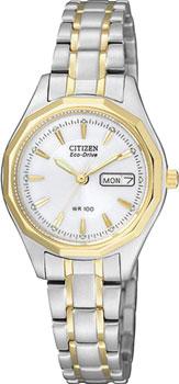Японские наручные  женские часы Citizen EW3144-51AE. Коллекция Eco-Drive