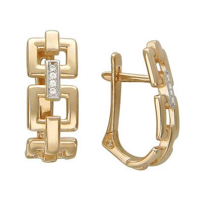 Купить Золотые серьги 01C116529, Серьги. Золото красное 585 . Вставки - Фианит бесцветный., Ювелирное изделие