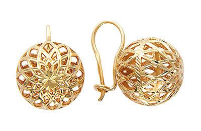 Золотые серьги 01C714612, Серьги средний вес 7.89 г., Красное золото 585 пробы, Изделие с алмазной обработкой., Ювелирное изделие  - купить со скидкой