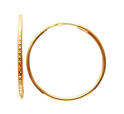 Золотые серьги 01C714817, Серьги средний вес 2.35 г., Красное золото 585 пробы, Изделие с алмазной обработкой диаметр - 2.5 см.., Ювелирное изделие  - купить со скидкой