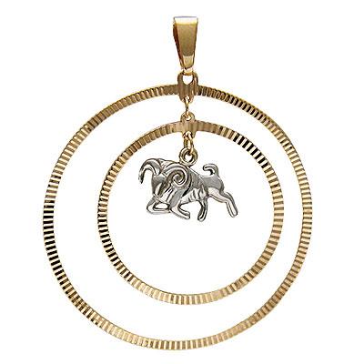 """Подвеска круглая  """"Овен """" - CharmGold магазин: серебряные и золотые украшения."""