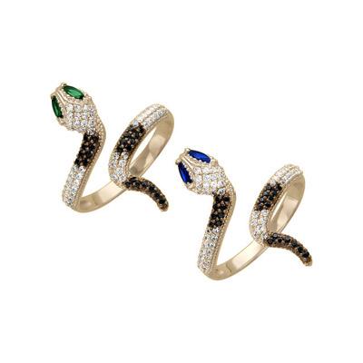 """Золотое украшение Красное золото, кольцо  """"Змея """" 02364 Красное золото, кольцо  """"Змея """" 02364 Вставка: фианит бесцветный..."""