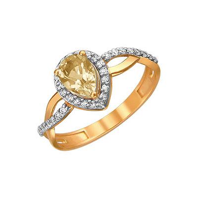 Купить Золотое кольцо 01K3110953-5, Кольцо. Красное золото 585 пробы. Вставка: фианит круг 37 шт., 0.38ct, цитрин груша 1 шт., 0.58ct. Средний вес 1, 58 гр.., Ювелирное изделие
