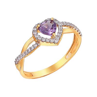 Купить Золотое кольцо 01K3110972-2, Кольцо. Красное золото 585 пробы. Вставка: аметист сердце 1 шт., 0.4ct, фианит круг 37 шт., 0.33ct. Средний вес 1, 5 гр.., Ювелирное изделие
