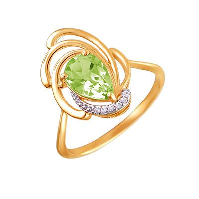 Купить Золотое кольцо 01K3111104-4, Кольцо. Красное золото 585 пробы. Вставка: фианит круг 6 шт., 0.05ct, хризолит груша 1 шт., 1.32ct. Средний вес 2, 15 гр.., Ювелирное изделие