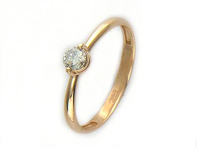 Кольцо средний вес 1.43 г., Красное золото 585 пробы, Вставки - бриллианты. - Золотое кольцо  01K614699