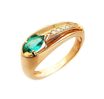 Купить Золотое кольцо 01K614834, Кольцо средний вес 4.15 г., Красное золото 585 пробы, бриллианты. Варианты вставок: изумруд, сапфир, рубин.., Ювелирное изделие